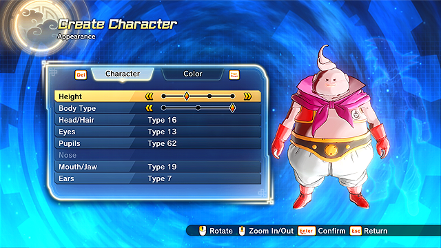 dragon ball xenoverse character creator application