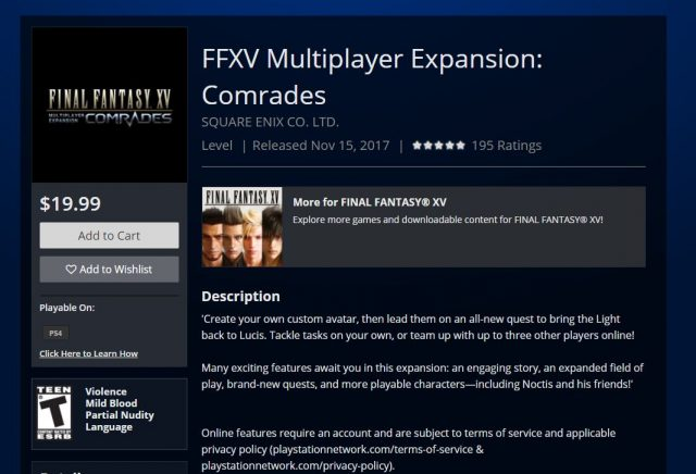 Final Fantasy 15 Comrades PSN
