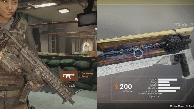 Destiny 2 vs The Division Gear and Weapons