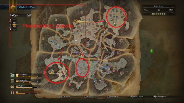 Monster Hunter World Phantom Bird Locations Wildspire Wastes