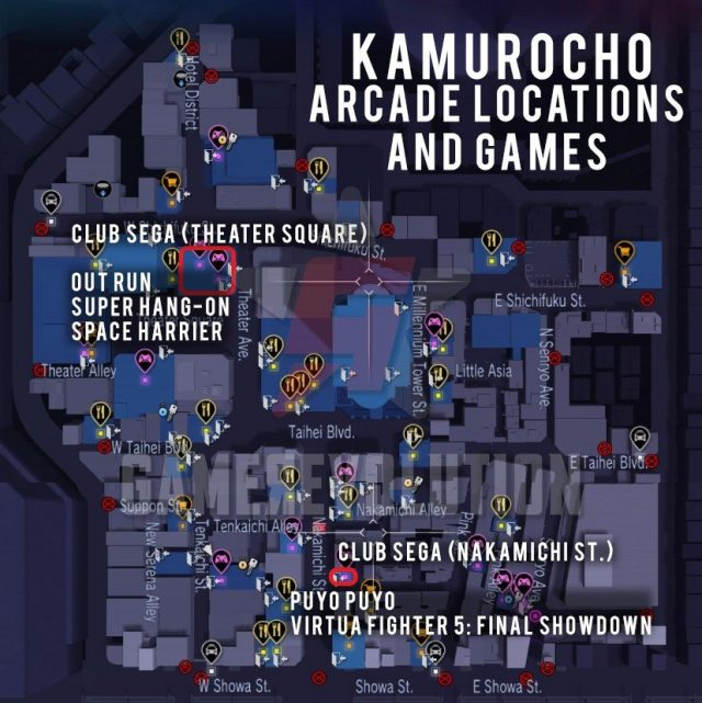 Kamurocho-Arcade Locations and Games Map