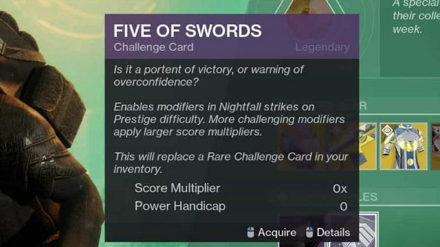 Destiny 2 Five of Swords: What Does the 5 of Swords Challenge Card