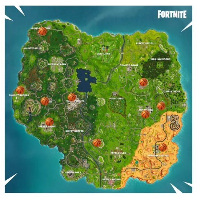 fortnite basketball hoops location map