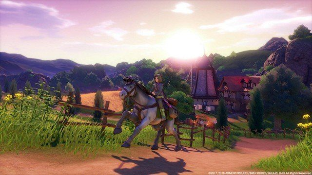 Dragon Quest 11 Review Horse in Sunset