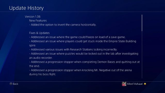 Spider-Man PS4 Update 1.06 Update History 1