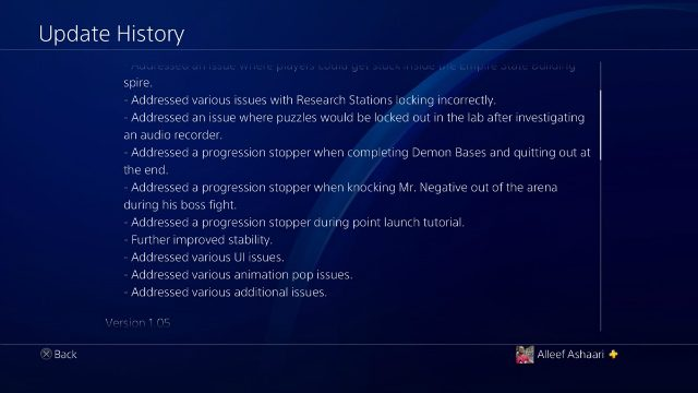 Spider-Man PS4 Update 1.06 Update History 2
