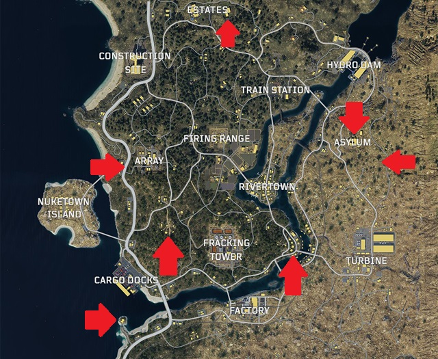 Black Ops 4 Blackout Zombie Locations map