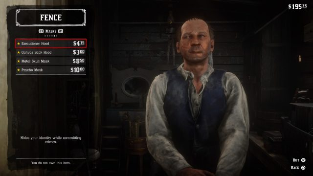 Red Dead Redemption 2 mask seller