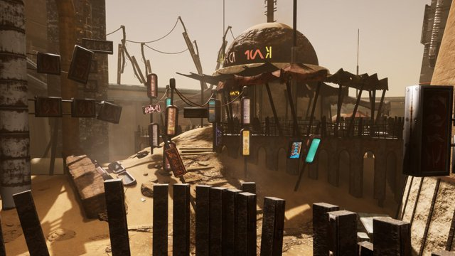 An in-development shot of Star Wars KotoR Apeiron's Tatooine.