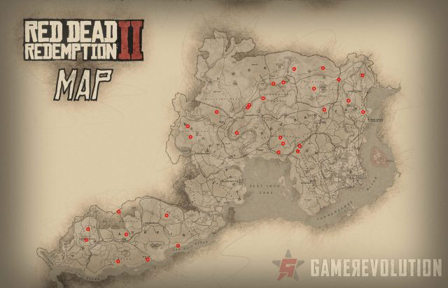 All Dinosaur Bone locations map in Red Dead Redemption 2