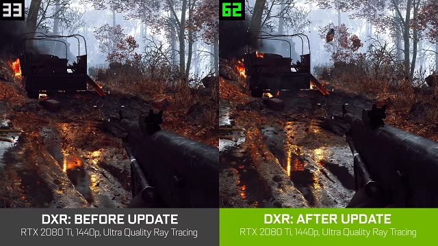 The next Battlefield 5 update improves DXR on Windows 10 immensely.
