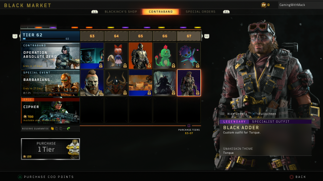 Black Ops 4 Barbarians all tiers rewards black adder