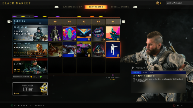 Black Ops 4 Barbarians all tiers rewards black market