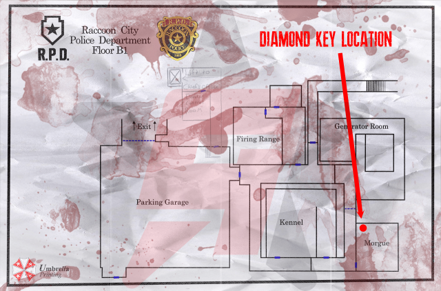 Resident Evil 2 remake Diamond Key Location