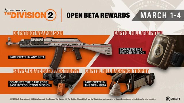 The Division 2 Open Beta Rewards