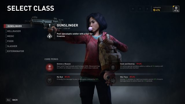 World War Z Gunslinger skills - Core Perks