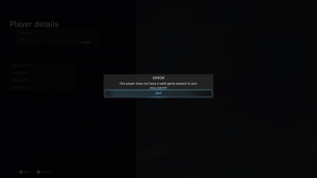 Modern Warfare Valid Game Session Error