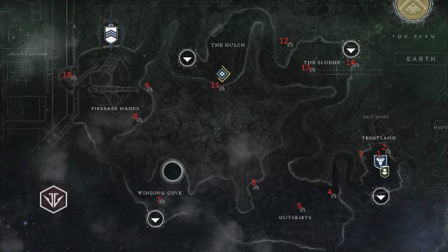 Destiny 2 EDZ Lost Sector locations 1 through 14