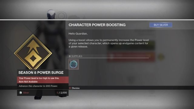 Destiny 2 Shadowkeep character power boost unlock price