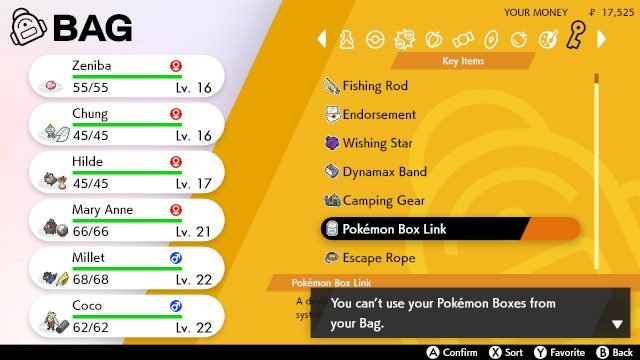 Pokemon sword and shield box link key item