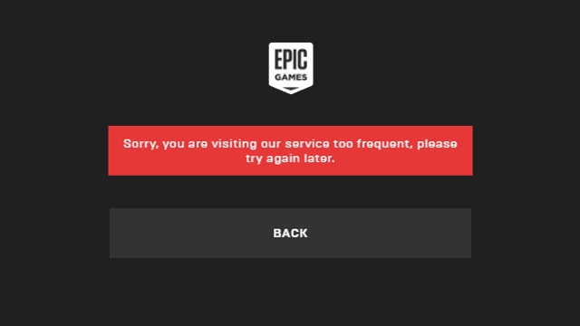 Fortnite Sorry You Are Visiting Too Frequently error