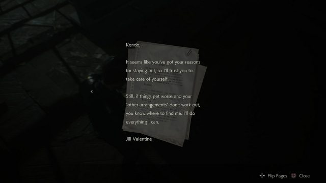 RE2 Chasing Jill Letter Text