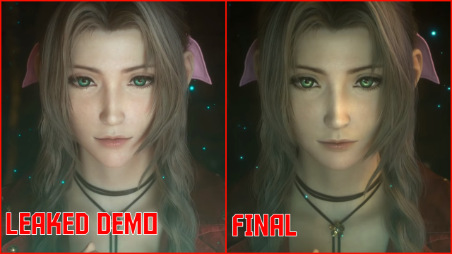 Final Fantasy 7 Remake Aerith Face Design Prototype vs Final
