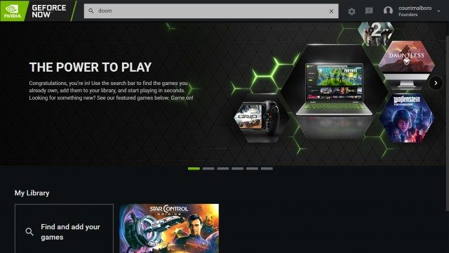 GeForce Now PC App interface