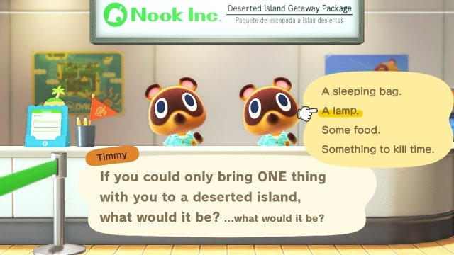 Animal Crossing: New Horizons One Thing to a Deserted Island