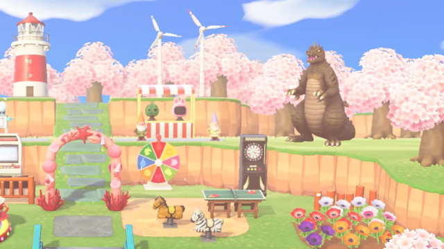 Animal Crossing: New Horizons island Godzilla