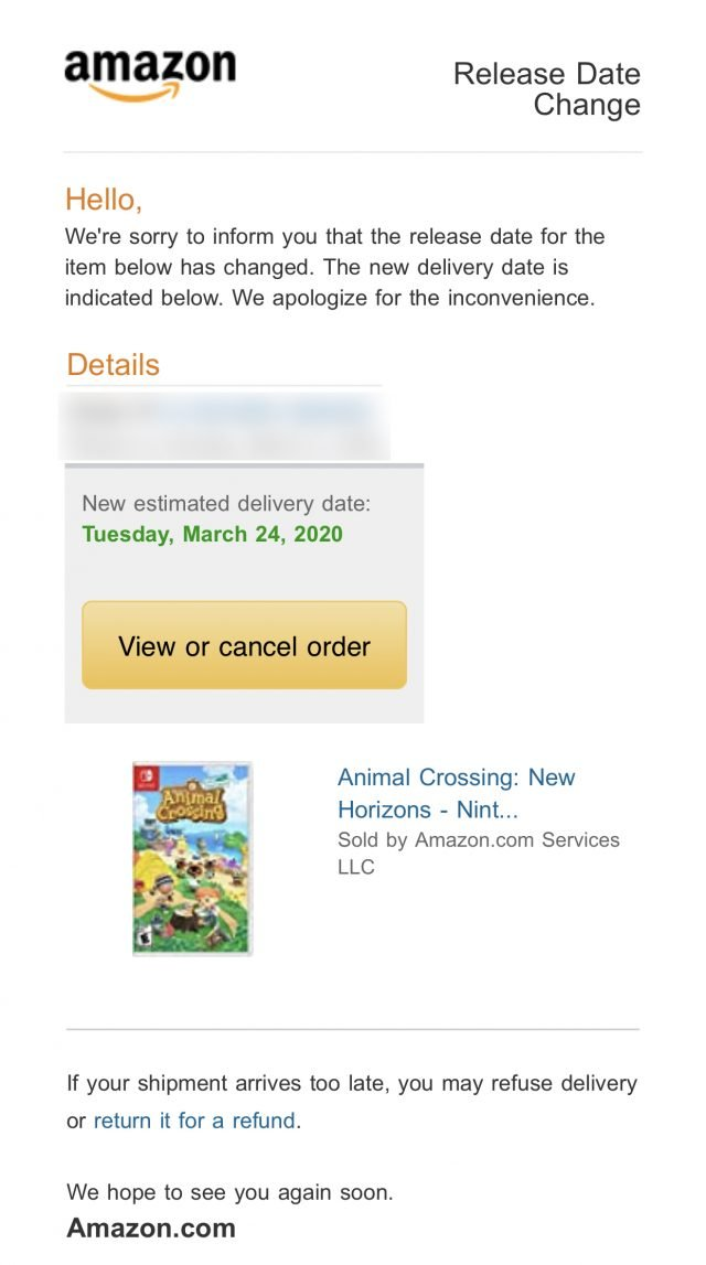 animal crossing new horizons amazon delay