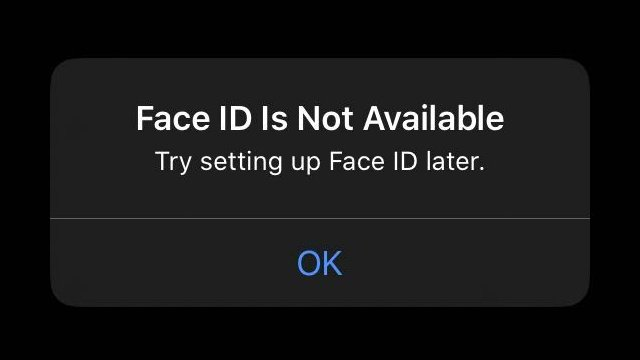 iPhone Face ID is not available