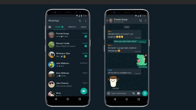 whatsapp dark mode ios 13 android 10 2