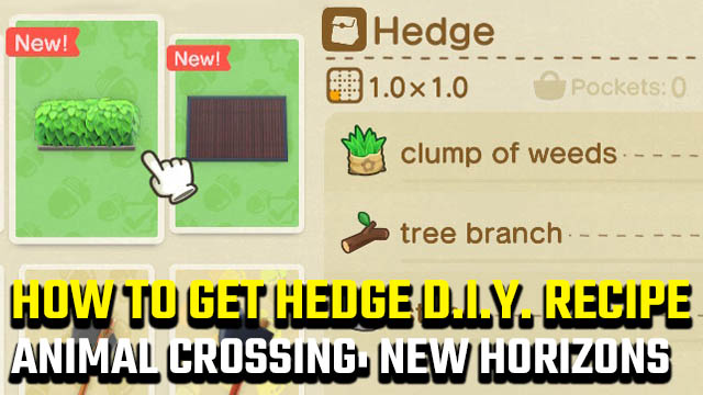 Animal Crossing: New Horizons hedge recipe