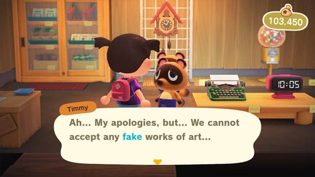 Can you sell fake artwork in Animal Crossing: New Horizons?