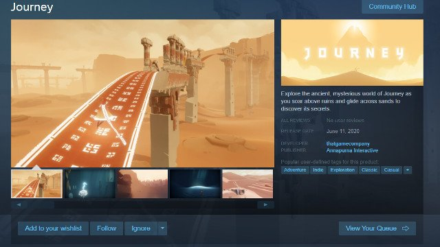 Journey Steam release date store page