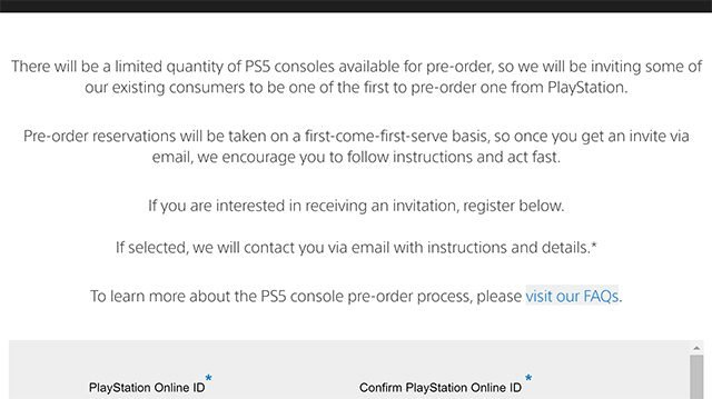 PS5 pre-orders registrations open up on official Sony site
